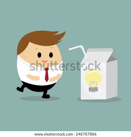 Vector of happy businessman drinking the idea juice box concept getting the idea - stock vector