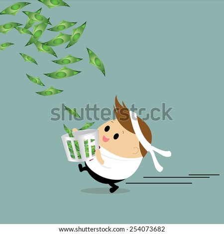 Vector of Happy Chubby Businessman running with the bucket to collect the rain of money concept success, winner  - stock vector