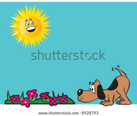 vector of happy dog stopping to smell the flowers on a sunny day - stock vector