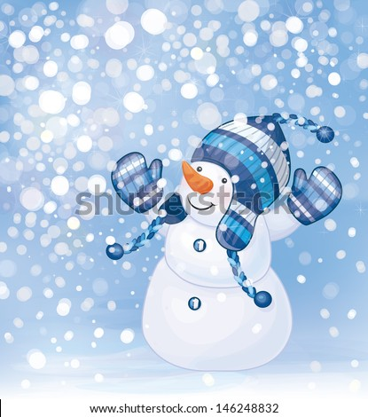 Vector of happy snowman and snowfall.  - stock vector