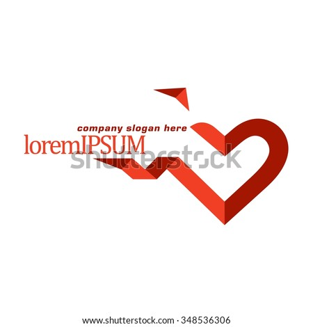 Vector of heart icon. Business icon for the company. Abstract symbol.  Logo for charity, health, voluntary, non profit organization, isolated on white background, vector illustration.  - stock vector