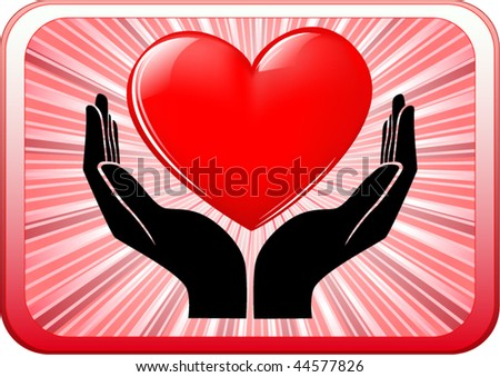 vector of heart in open hands - stock vector