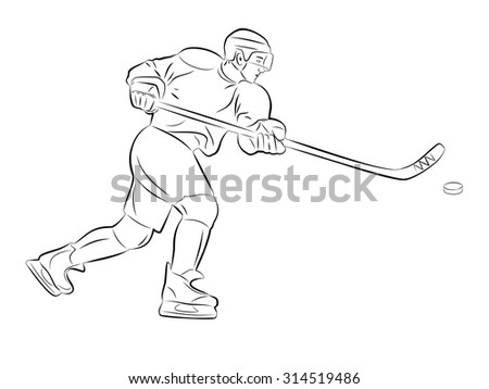 vector of ice hockey player sketch. black silhouette and white background