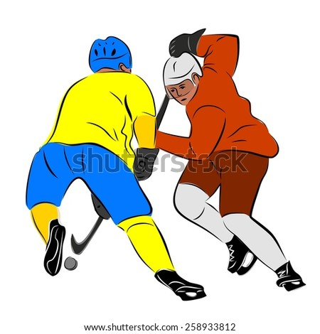 vector of ice two color hockey players silhouette.  hockey duel - stock vector