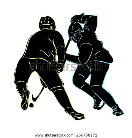vector of ice two hockey players silhouette.  hockey duel - stock vector