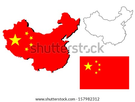 vector of isolated china map with the flag inside - stock vector