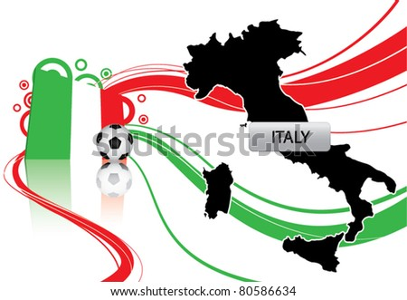 vector of Italy about soccer contain map, flag and soccer ball