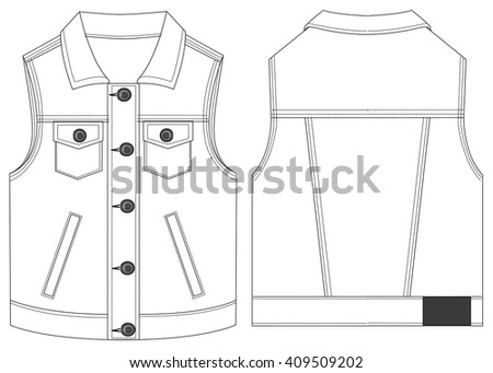 Vector of jeans jacket. Front and back views