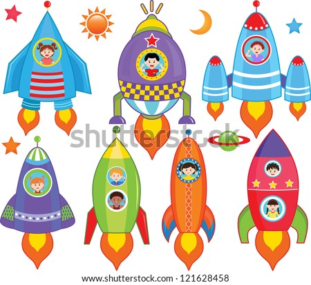 Vector of Kids inside Spaceship, Spacecraft, Rocket. A set of cute and colorful icon collection isolated on white background