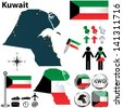 Vector of Kuwait set with detailed country shape with region borders, flags and icons - stock vector