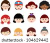 Vector of Little Girls, Woman, Kids, Female theme with different ethnics. A set of cute and colorful head icon collection isolated on white background - stock vector