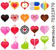 Vector of love and Valentine's day. A set of cute and colorful heart shaped icon collection isolated on white background - stock vector