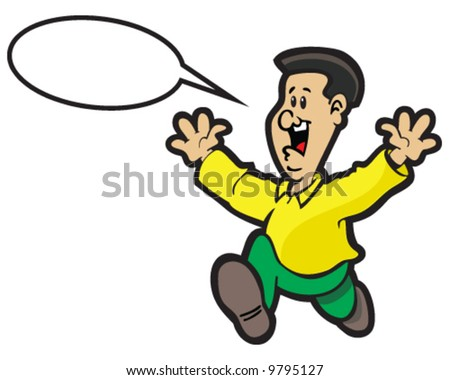 vector of man running, waving arms, and shouting or making an announcement