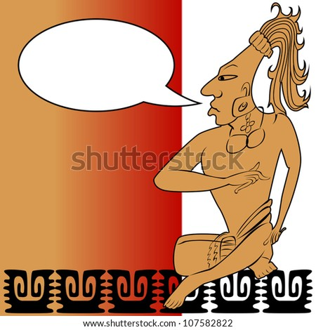 Vector of Mayan warrior and speech bubble - stock vector