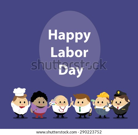 Vector of mix cartoon character of worker in many different job. Concept for Happy Labor Day - stock vector