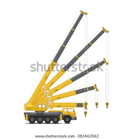 Vector of mobile crane isolated on white background. - stock vector