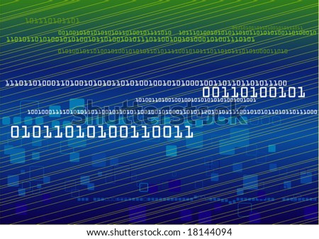 Vector of modern binary technology with geometric and lines background