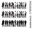 Vector of Multi-ethnic Business People Silhouettes - stock photo