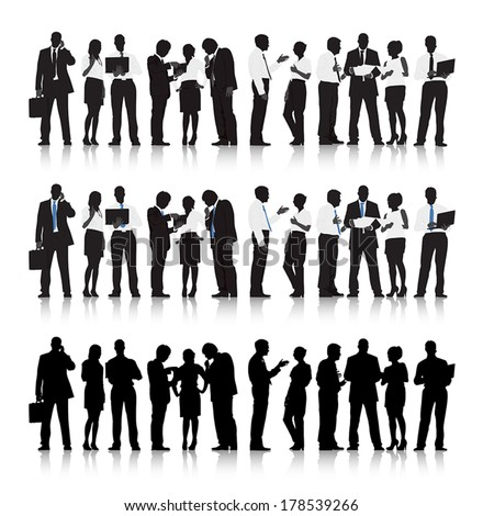Vector of Multi-ethnic Business People Silhouettes - stock vector