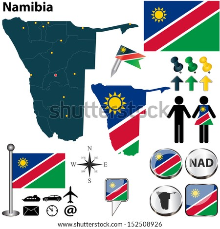 Vector of Namibia set with detailed country shape with region borders, flags and icons