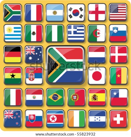 Vector of 32 Nation Flag Icons. - stock vector