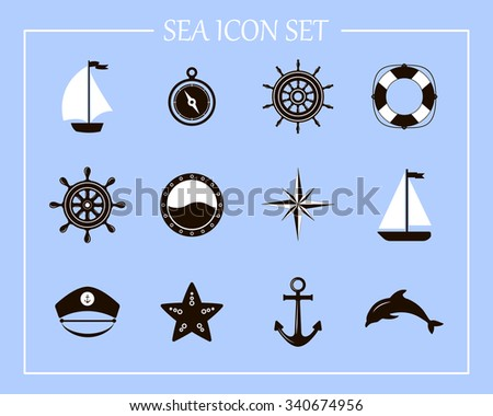 Vector of Nautical and marine icons. Nautical design elements. Sea leisure sport.  Icon and design element. Symbol of sailors, sail, cruise and sea. Set of marine icons.