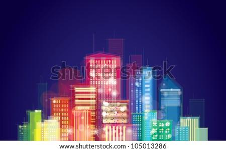 Vector of night city skyline - stock vector