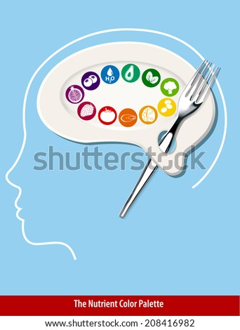 Vector of Nutrient Color Palette Brain Shape. Clean Eating Concept. - stock vector