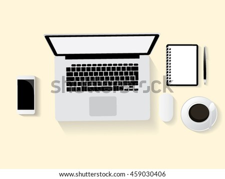 Vector of office desk with laptop, coffee, notebook and pen. Top view with copy space.