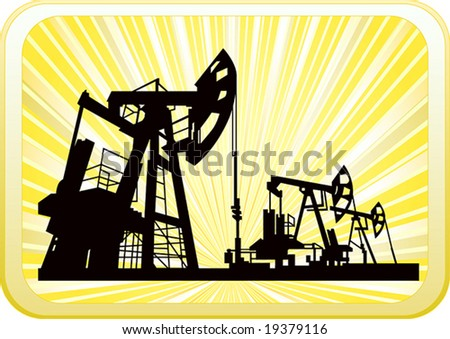 vector of oil pump on shiny yellow background