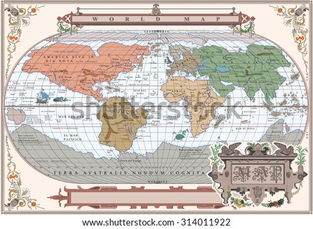 Vector of old globe with water monsters in retro frame - stock vector