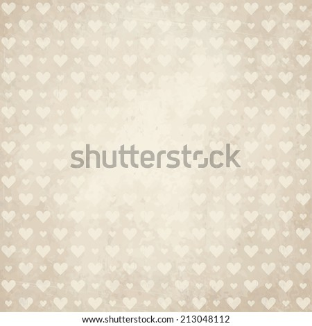 vector of old vintage paper background with hearts - stock vector