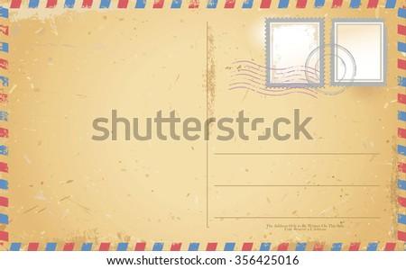 vector of old vintage postcard - stock vector