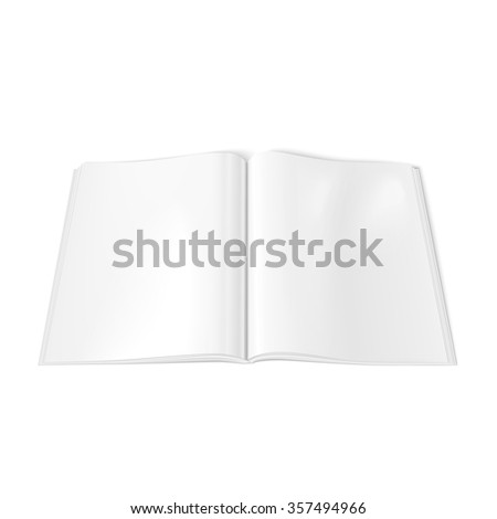 Vector of open glossy blank magazine spread on white background. Using mesh - stock vector