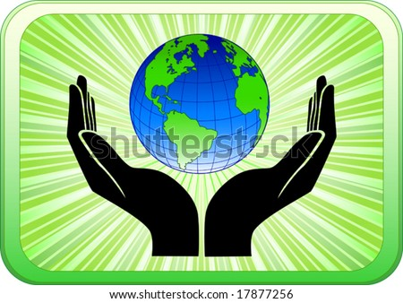 Vector of open hands holding earth - stock vector