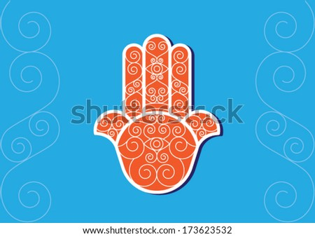 vector of oriental and typical Hamsa Hand (khomsa).. vector file eps10 - stock vector