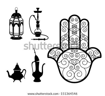 vector of oriental and typical objects isolated on white :Hookah, lantern, Hamsa Hand (khomsa) and tea pot - stock vector