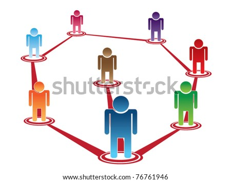 vector of people stand on position mark : organizational structure or teamwork - stock vector