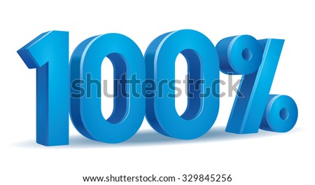 Vector of 100 percent in white background - stock vector