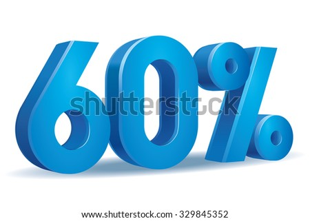 Vector of 60 percent in white background - stock vector