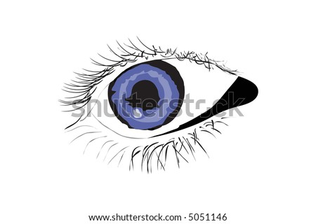 Vector of persons blue eye on white background - stock vector
