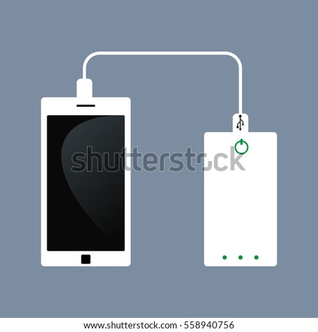 Vector of phone charging and Power bank. flat