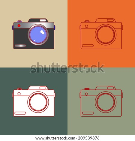 Vector of photo camera illustrated in lines, round corner and color - stock vector