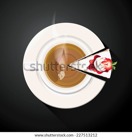 Vector of Pie chart of Tea cup and Cake slices
