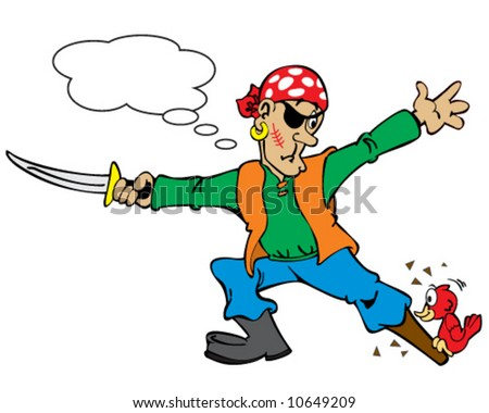 vector of pirate with wooden leg surprised by a woodpecker - add your caption