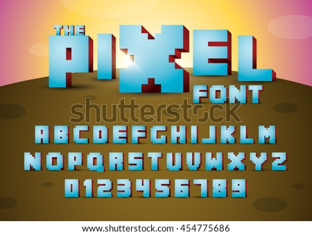 Vector of pixelated font and alphabet - stock vector