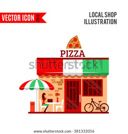 Vector of pizza restaurant with terrace in front. Woman eats pizza at the table. Bicycle parking nearby. Pizzeria restaurant building. Food and drink concept. Summer facade. Tasty pizza icon - stock vector