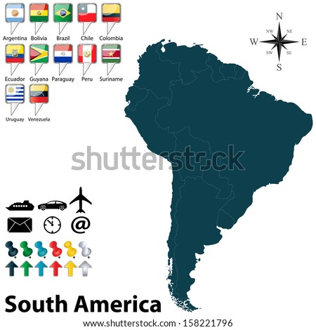 Vector of political map of South America set with buttons flags on white background - stock vector