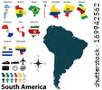 Vector of political map of South America set with maps and flags on white background - stock vector