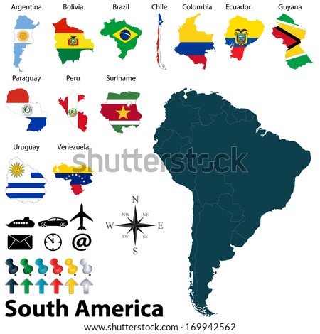 Vector of political map of South America set with maps and flags on white background